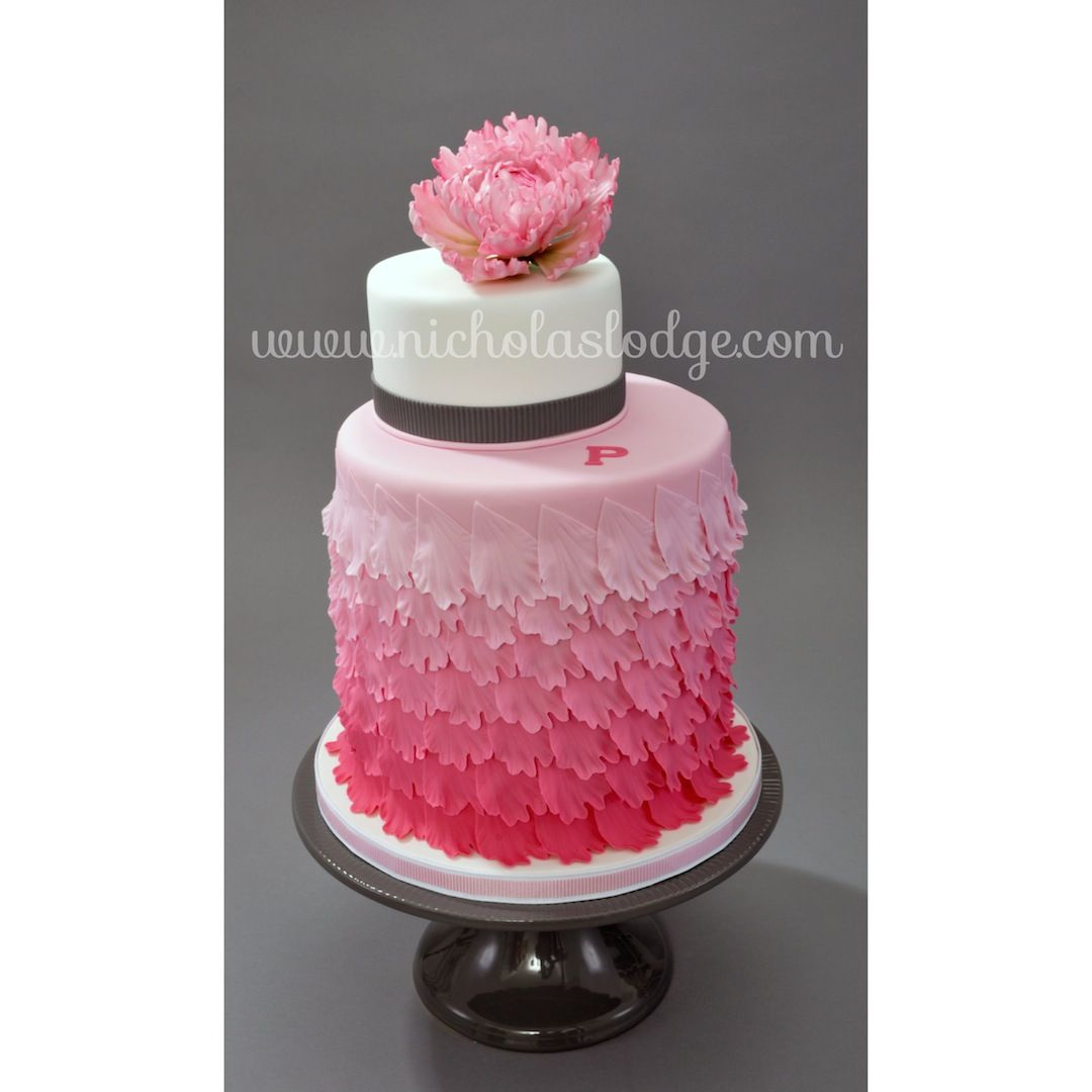 Peony Pink Ombre Cake